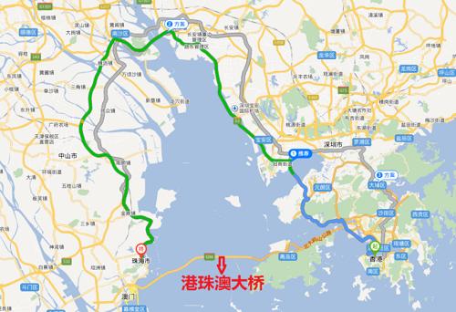 路径为从香港至珠海绕行虎门大桥的路线)-跨越伶仃洋的奇迹 港珠